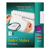 Avery 11421 Index Maker 5-Tab White Divider Set with Clear Label Strip for Copiers - 5/Pack