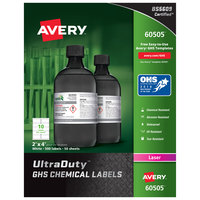 Avery 60505 UltraDuty 2 inch x 4 inch GHS Chemical Labels for Laser Printers - 500/Box