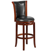 Flash Furniture TA-220130-DC-GG Dark Chestnut Wood Bar Height Panel Back Stool and Black Leather Swivel Seat