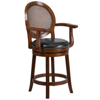Flash Furniture TA-550426-E-CTR-GG Expresso Counter Height Woven Rattan Back Stool with Black Leather Swivel Seat