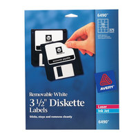 Avery 6490 3 1/2 inch White Diskette Labels - 375/Pack