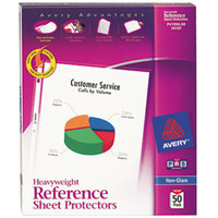Avery 74107 8 1/2 inch x 11 inch Nonglare Heavyweight Top-Load Sheet Protectors, Letter - 50/Box