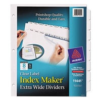 Avery 11441 Index Maker 8-Tab Extra-Wide Dividers with Clear Label Strips - 5/Pack