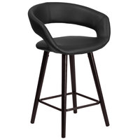 Flash Furniture CH-152561-BK-VY-GG Brynn Series Cappuccino Wood Counter Height Stool with Black Vinyl Seat