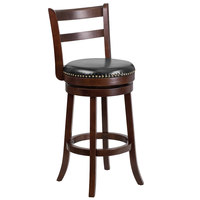 Flash Furniture TA-16029-CA-GG Cappuccino Wood Bar Height Ladder Back Stool with Black Leather Swivel Seat