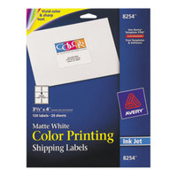 Avery 8254 3 1/3 inch x 4 inch Matte White Ink Jet Color-Printing Shipping Label - 120/Pack