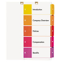 Avery 13157 Ready Index 5-Tab Multi-Color Customizable Table of Contents Dividers Set - 3/Pack