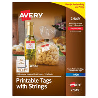 Avery 22849 1 1/2 inch x 1 1/2 inch White Square Print-to-the-Edge Tags with Strings - 200/Pack