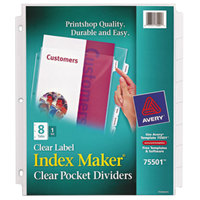 Avery 75501 Index Maker 8 1/2 inch x 11 inch 8-Tab Clear Pocket Label Dividers