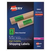 Avery 5964 2 inch x 4 inch Assorted Neon Shipping Labels - 1000/Box