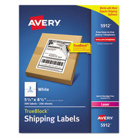 Avery 5912 TrueBlock 5 1/2 inch x 8 1/2 inch White Shipping Labels - 500/Box