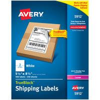 Avery 5912 TrueBlock 5 1/2 inch x 8 1/2 inch White Shipping Labels - 500/Box