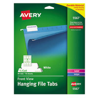 Avery 5567 2 1/16 inch White 1/5 Cut Printable Hanging File Tab - 90/Pack