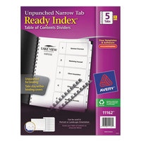 Avery 11162 Ready Index Narrow 5-Tab White Unpunched Table of Contents Divider Set - 5/Pack