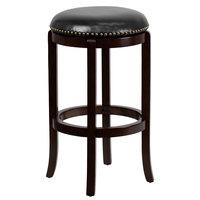 Flash Furniture TA-68929-CA-GG Cappuccino Wood Bar Height Stool with Black Leather Swivel Seat