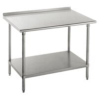 14 Gauge Advance Tabco FSS-363 36 inch x 36 inch Stainless Steel Commercial Work Table with Undershelf and 1 1/2 inch Backsplash