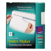 Avery 12450 Index Maker 8-Tab 3-Hole Punched Plastic Clear Label Dividers - 5/Pack