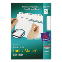 Avery 11426 Mini Index Maker 5-Tab White Dividers with Clear Label Strip