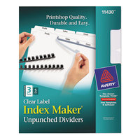 Avery 11430 Index Maker 3-Tab White Unpunched Divider Set with Clear Label Strip - 5/Pack