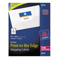 Avery 6878 3 3/4 inch x 4 3/4 inch White Print-to-the-Edge Shipping Labels - 100/Pack