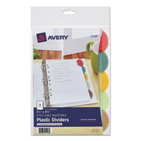 Avery 11118 Style Edge Translucent Plastic 5-Tab Multi-Color Mini Insertable Dividers