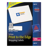 Avery 6879 1 1/4 inch x 3 3/4 inch White Print-to-the-Edge Shipping Labels - 300/Pack