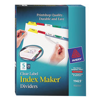 Avery 11423 Index Maker 5-Tab Multi-Color Divider Set with Clear Label Strip - 25/Pack