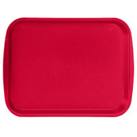 Vollrath 1014-02 Traex® 10 inch x 14 inch Red Rectangular Premium Plastic Fast Food Tray with Built-In Handles - 24/Case
