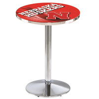 Holland Bar Stool L214C3628NebrUn-D2 28 inch Round University of Nebraska Pub Table with Chrome Round Base