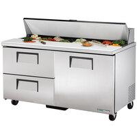 True TSSU-60-16D-2-HC 60 inch 1 Door 2 Drawer Refrigerated Sandwich Prep Table