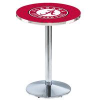 Holland Bar Stool L214C36AL-A 28 inch Round University of Alabama Pub Table with Chrome Round Base
