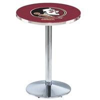 Holland Bar Stool L214C36FSU-HD 28 inch Round Florida State University Pub Table with Chrome Round Base
