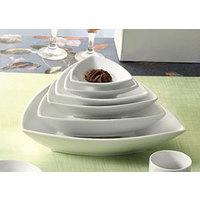 CAC SHA-T7 Sushia 12 oz. Super White Triangular Porcelain Bowl - 36/Case