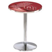 Holland Bar Stool L214C3628Oklhma-D2 28 inch Round Oklahoma University Pub Table with Chrome Round Base