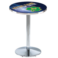 Holland Bar Stool L214C3628ND-Shm-D2 28 inch Round Notre Dame University Pub Table with Chrome Round Base