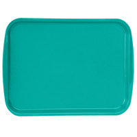 Vollrath 1216-33 Traex® 12 inch x 16 inch Teal Rectangular Premium Plastic Fast Food Tray with Built-In Handles - 24/Case