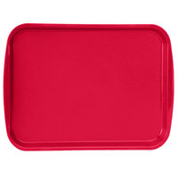 Vollrath 1216-02 Traex® 12 inch x 16 inch Red Rectangular Premium Plastic Fast Food Tray with Built-In Handles - 24/Case