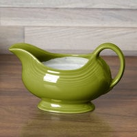 Homer Laughlin 486332 Fiesta Lemongrass 18.5 oz. Sauce Boat - 4/Case