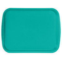 Vollrath 1014-33 Traex® 10 inch x 14 inch Teal Rectangular Premium Plastic Fast Food Tray with Built-In Handles - 24/Case