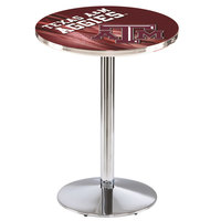 Holland Bar Stool L214C3628TexA-M-D2 28 inch Round Texas A&M University Pub Table with Chrome Round Base
