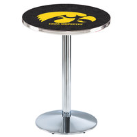 Holland Bar Stool L214C3628IowaUn 28 inch Round University of Iowa Pub Table with Chrome Round Base