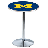 Holland Bar Stool L214C3628MichUn 28 inch Round University of Michigan Pub Table with Chrome Round Base