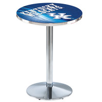 Holland Bar Stool L214C3628UKY-UK-D2 28 inch Round University of Kentucky Pub Table with Chrome Round Base