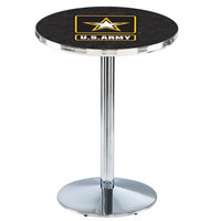 Holland Bar Stool L214C3628Army 28 inch Round United States Army Pub Table with Chrome Round Base