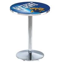 Holland Bar Stool L214C3628UKYCat-D2 28 inch Round University of Kentucky Pub Table with Chrome Round Base