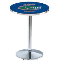 Holland Bar Stool L214C3628FlorUn 28 inch Round University of Florida Pub Table with Chrome Round Base