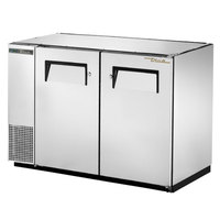True TBB-24GAL-48-S-HC 48 inch Stainless Steel Narrow Under Bar Refrigerator with Galvanized Top and Two Solid Doors