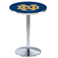 Holland Bar Stool L214C3628ND-ND 28 inch Round Notre Dame University Pub Table with Chrome Round Base