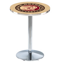 Holland Bar Stool L214C36Indn-HD 28 inch Round Indian Motorcycle Pub Table with Chrome Round Base