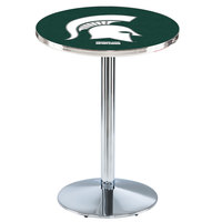 Holland Bar Stool L214C36MichSt 28 inch Round Michigan State University Pub Table with Chrome Round Base